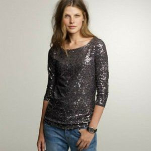 J. Crew Grey Cropped Sleeve Sequin Top Small